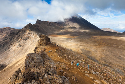 Tongariro Alpine Crossing and Mount Ngauruhoe. Tongariro National Park, Central North Island
