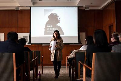 Doctoral student Farhana Islam reads Morrison's poem 'Eve Remembering'