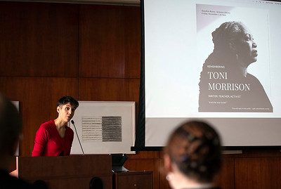 Carissa Halston, English doctoral student, introduces the program