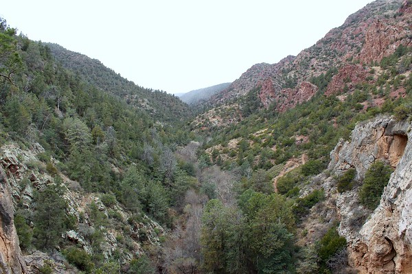 Looking down Pine Creek Canyon from the top of the Tonto Natural Bridge (2018)