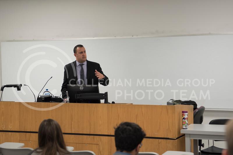 Kansas City Star's Tony Berg talks about his job in Kedzie Hall at Kansas State University, in Manhattan, Kan., on Nov. 15, 2017. (Olivia Bergmeier | Collegian Media Group)