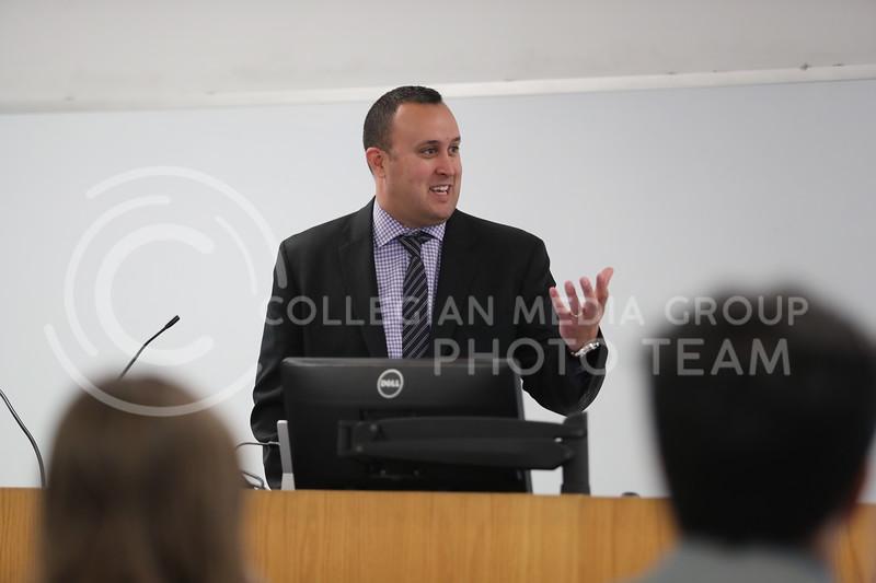 Kansas City Star's Tony Berg talks about his job in Kedzie Hall at Kansas State University, in Manhattan, Kansas., on November 15, 2017. (Cooper Kinley | Collegian Media Group)