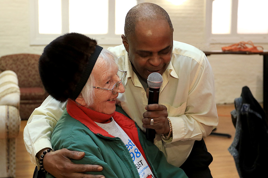. Tony Funches of the Platters performed at the Fitchburg Senior Center on Wednesday, Feburary 20, 2019 for their Valentine\'s show that had been cancelled a week earlier due to a snow storm. During his show he made Eila Kelley smile as he sang to her during one of his love songs. SENTINEL & ENTERPRISE/JOHN LOVE
