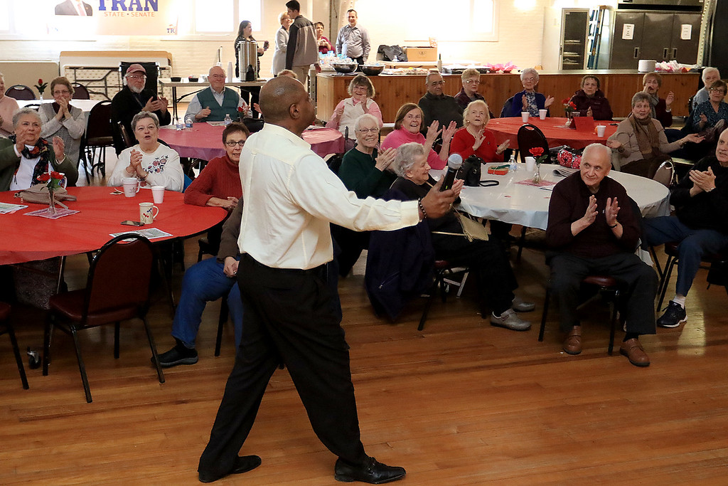 . Tony Funches of the Platters performed at the Fitchburg Senior Center on Wednesday, Feburary 20, 2019 for their Valentine\'s show that had been cancelled a week earlier due to a snow storm. SENTINEL & ENTERPRISE/JOHN LOVE