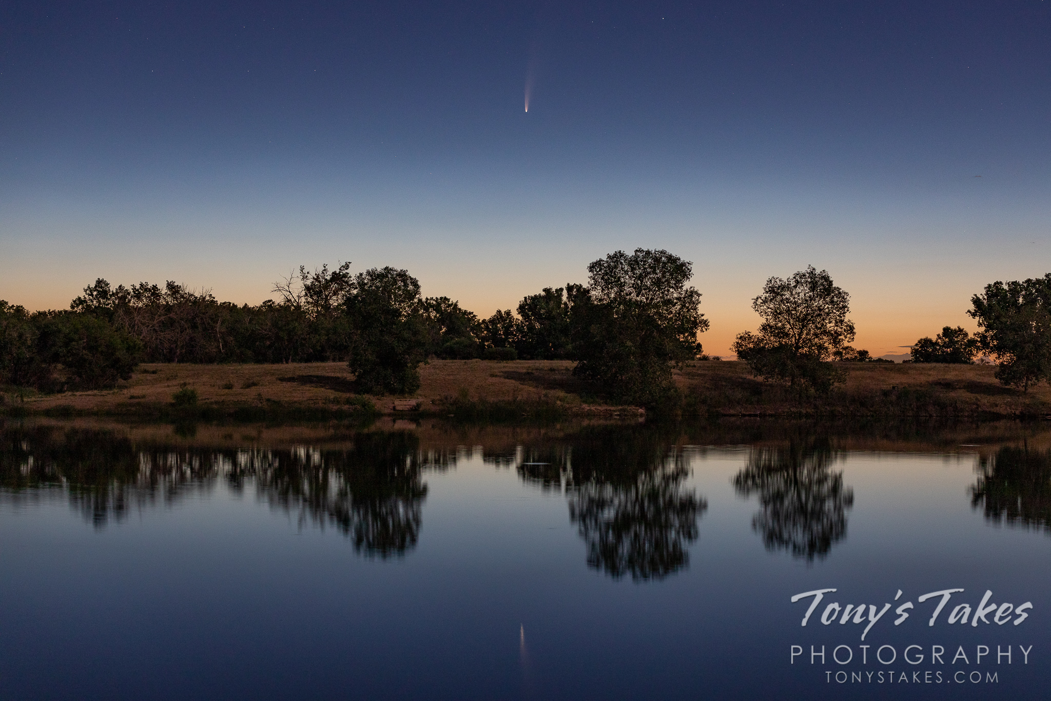 July 2020 - Comet NEOWISE above a pond in Adams County, Colorado. (© Tony's Takes)