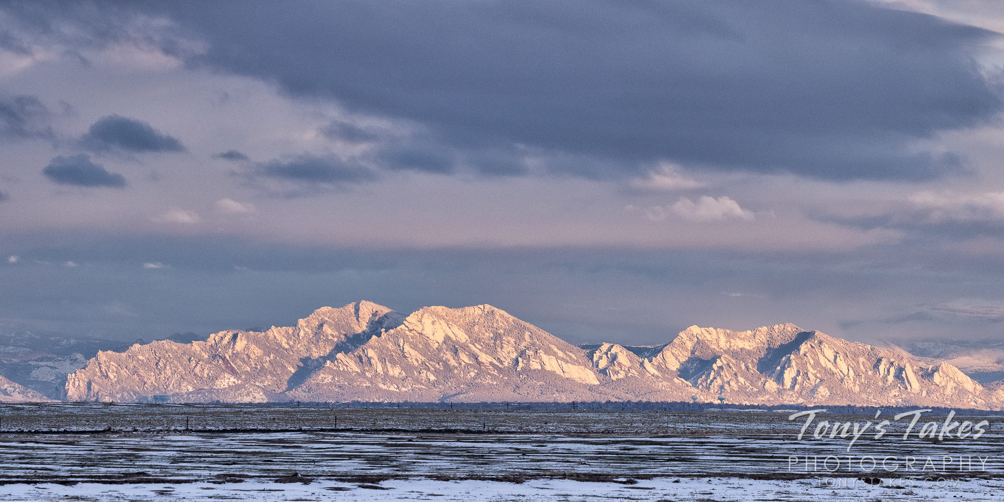 The snow-covered Flatirons near Boulder