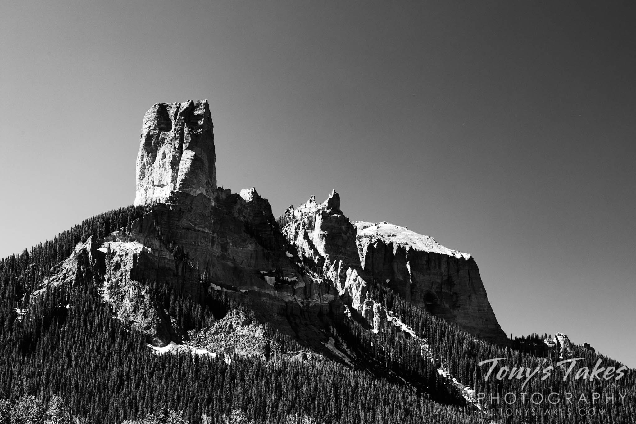 Chimney Rock in black and white