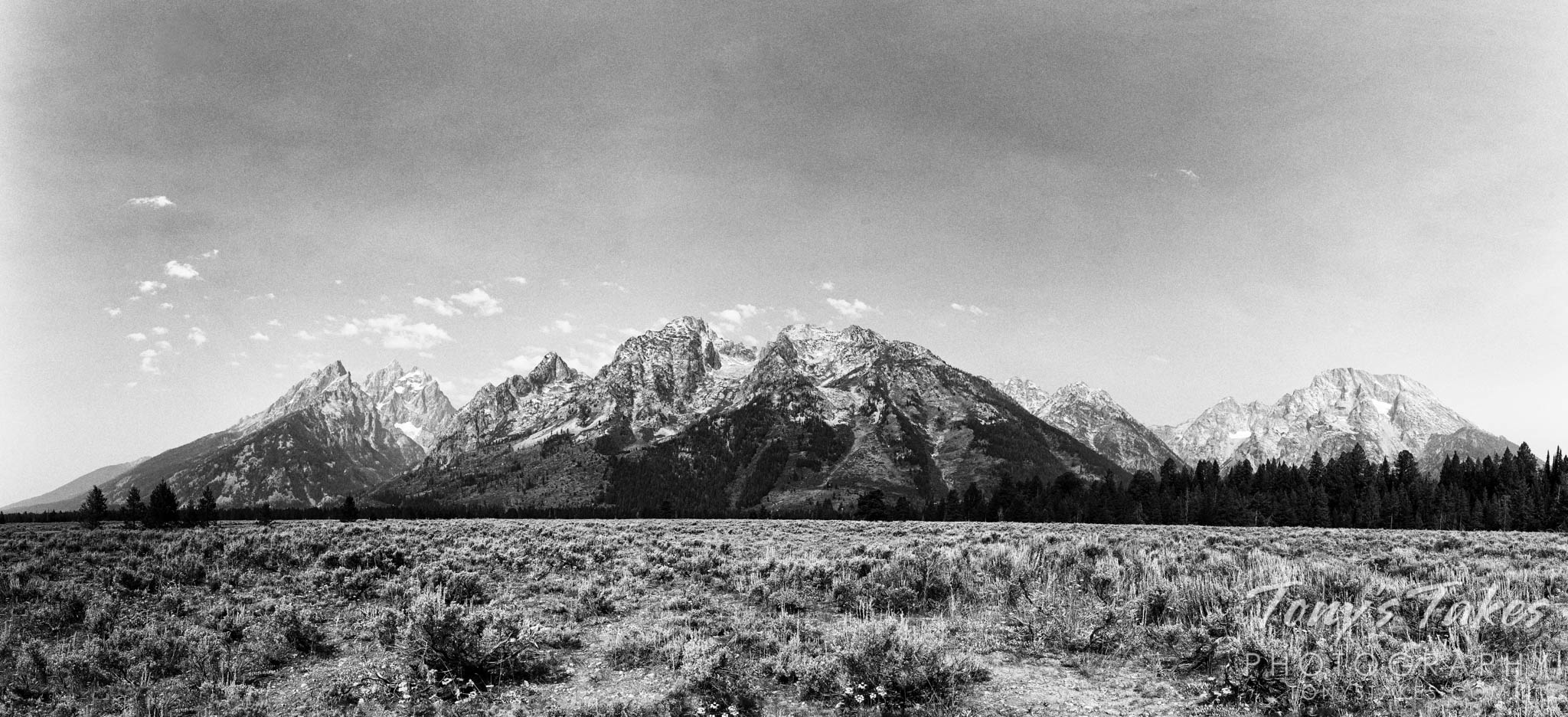 The Tetons in black and white