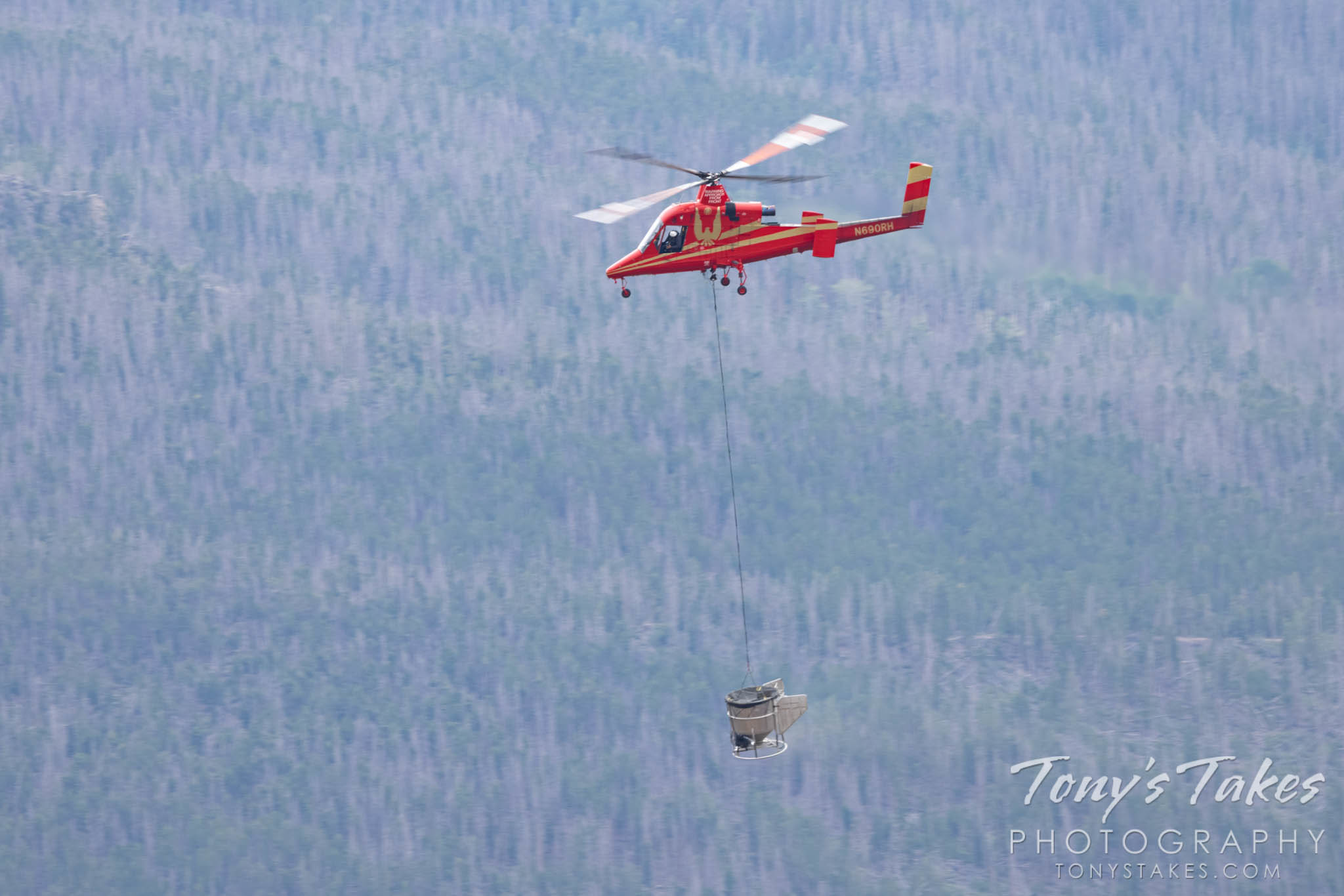 Helicopter performs seeding and mulching to aid in wildfire recovery