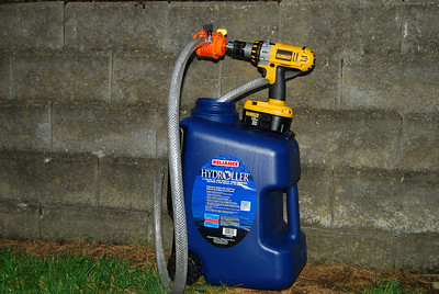 The drill pump emptied the eight gallon tote in one minute or less.