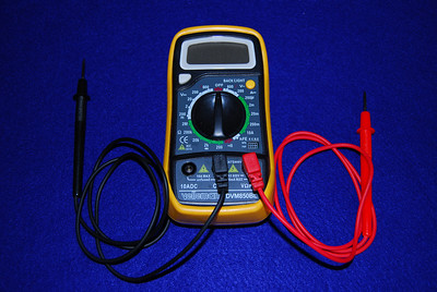 Velleman DVN850BL multimeter.  I like this one for a variety of resons.   First it has a back light which comes in handy if you are checking the camp ground voltage late at night.  Second, it has a buzzer that sounds when you are check continutity and you don't that to look at the meter.  Third it can hold the last reading which is nice if you are tracking battery status.