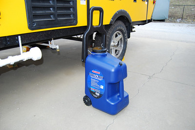This is the largest water container available.  However the small wheels and the narrow wheel base makes it difficult yo pull over gravel or grass.