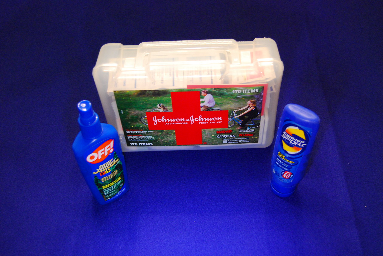 Last but not least is insect repelant, a good first aid kit and sun screen lotion.