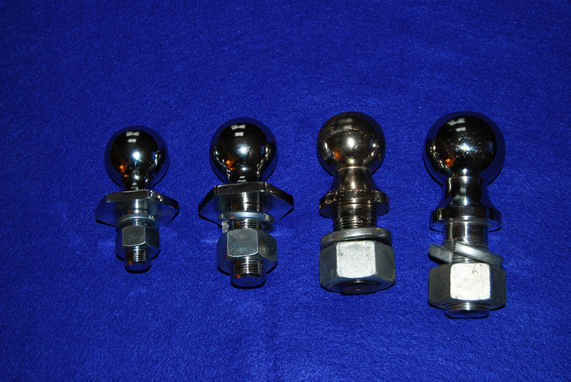 """Hitch balls come if a various sizes (1 7/8"""", 2"""" and 2 5/16"""").  They also have a variety of shaft diameters (3/4"""" 1"""" and 1 1/4"""") with their corresponding nuts."""