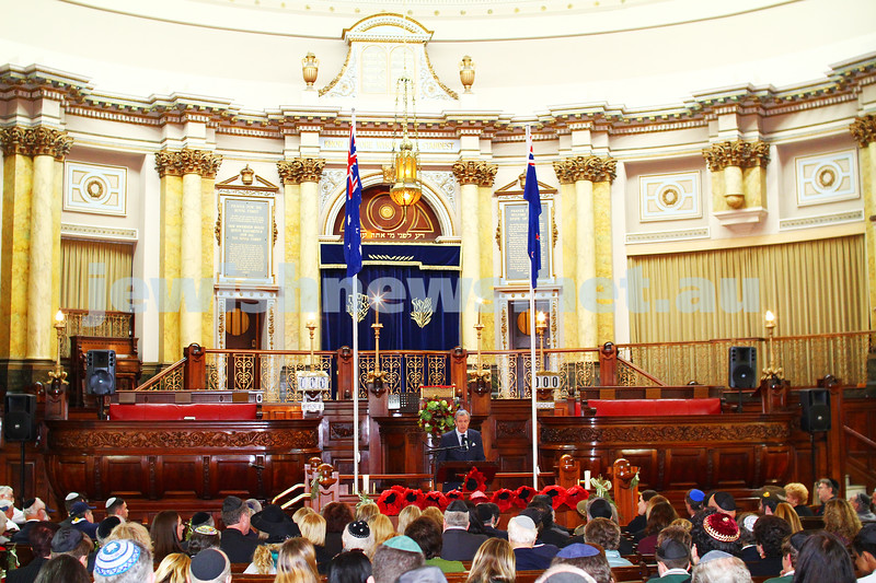 23-4-15. Anzac 100 years memorial at Toorak Shul. Photo: Peter Haskin