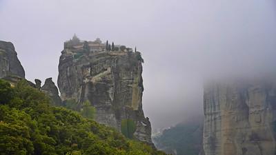 Meteora monastery in the fog