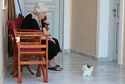 Woman and her cat