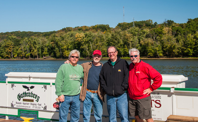"""The River Home""   Mississippi River, Cassville Ferry, Iowa/Wisconsin.  Da-Boys.....  Denny, me, Cy and D-Boy."