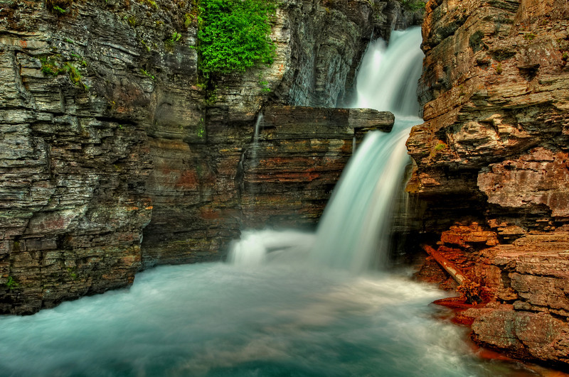 St. Mary's Falls, Glacier National Park  # 53-179HDR