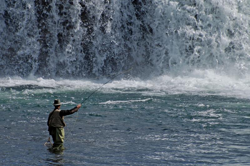 Fisherman at Cave Falls, Yellowstone, Idaho  # 175-255ed2