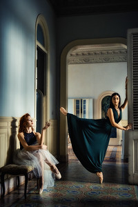 Two professional ballerinas from the Cuban National ballet inside an old mansion in Central Havana.