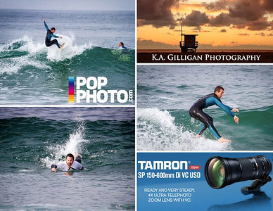 My surfing images were published in Popular Photography in a story about Tamron's amazing 150-600 telephoto. I love this lens! Incredible reach and an incredible value. This lens goes for around $1300 USD, whereas the Canon 600 f/4 is approximately $13,000 USD. I use this lens for all my outdoor sports and have terrific results. It is best to use a monopod or tripod when shooting images that are far away, and then turn off the vibration compensation. You can handhold this baby (and use the vibration compensation, which is excellent) but you don't want to it all day.