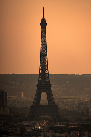 View of the Eiffel Tower from Sacre-Coeur, in the Montmartre section of Paris, one of the highest points in Paris.