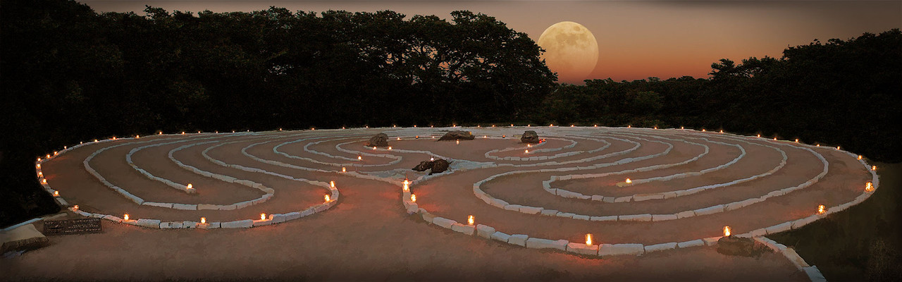 Moonrise over the labyrinth at Live Oak Unitarian Universalist church in Cedar Park Texas.