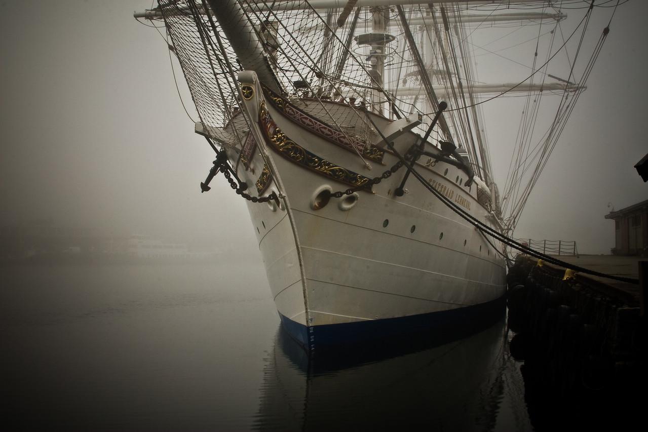 Bergen in the Mist - Harbor Ship