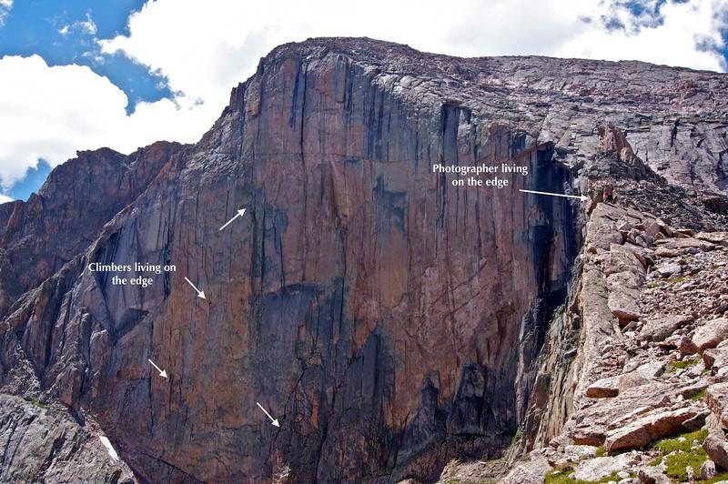 There they are!  Longs Peak Diamond climbers.