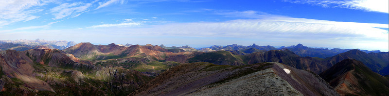Panoramic view of the colorful San Juans to the northwest from the summit of Handies Peak; Colorado San Juan Range.