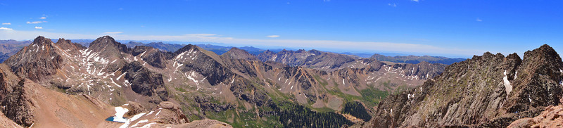 Panoramic view southeast from the summit of North Eolus.  Sunlight and Windom Peaks, left; Mount Eolus, right; Colorado San Juan Range