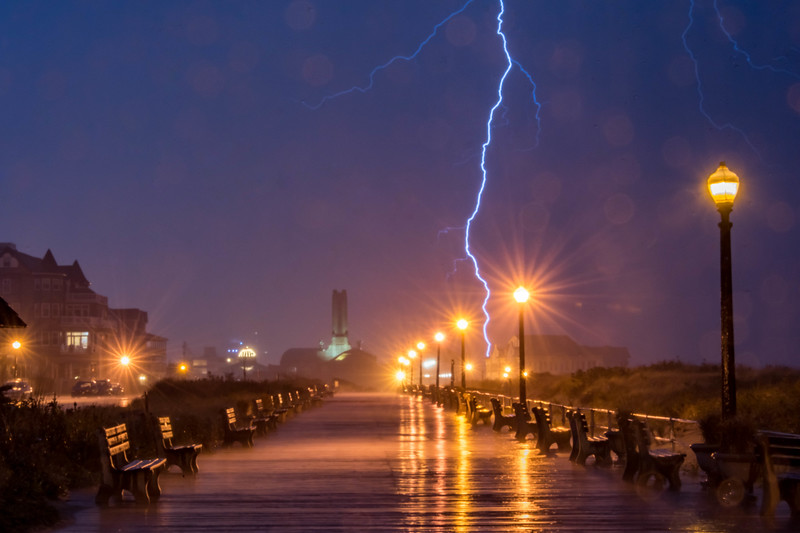 Lightning Strike Over Ocean Grove Boardwalk and Asbury Park 10/30/16