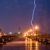 Lightning Strike Over Ocean Grove Boardwalk and Asbury Park 10/30/16