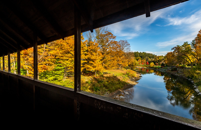 An Autumn Scene Through A Covered Bridge in Woodstock, VT 10/10/19