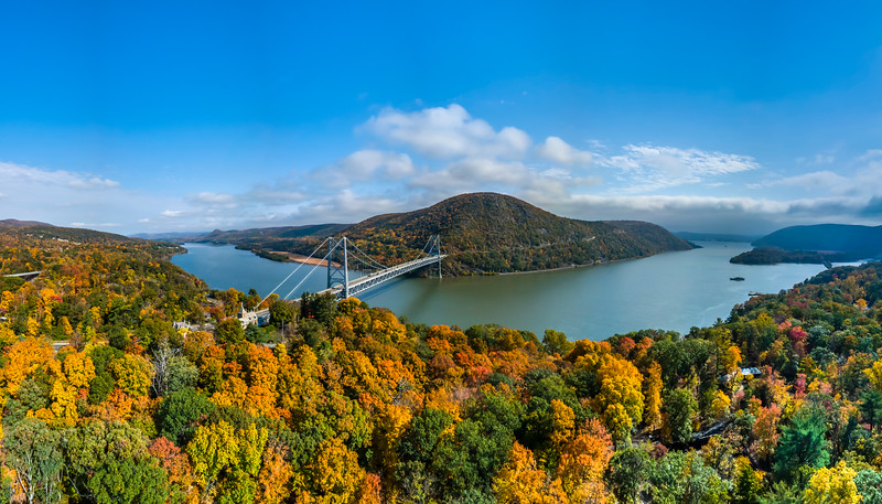 A Panoramic Aerial View Of Bear Mountain Bridge Surrounded By Autumn Colors 10/22/20