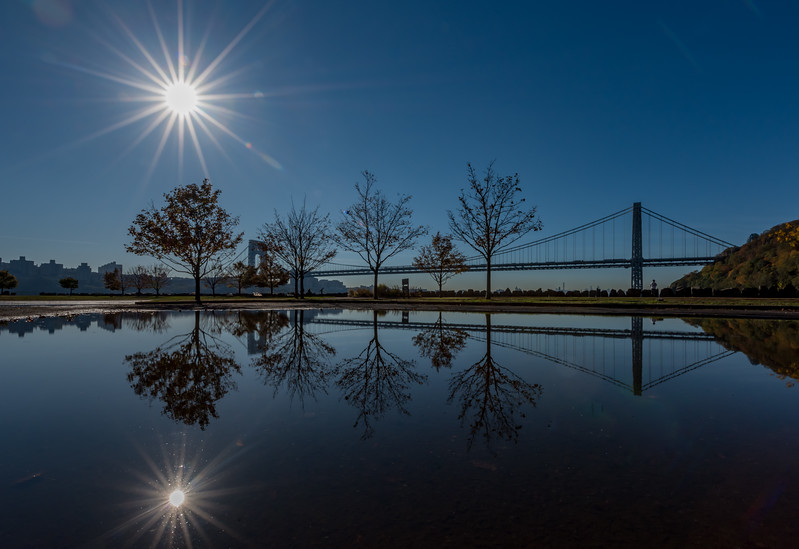 George Washington Bridge Reflecting in a Puddle in Fort Lee, NJ 10/27/17