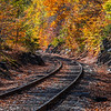 Autumn Foliage Around Train Tracks In The White Mountains, NH 10/5/20