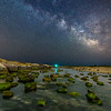 The Milky Way Rising Over Algae Covered Rocks on Barnegat Beach 6/8/18