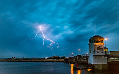 Lightning Strike Over Shark River Inlet in Belmar 5/15/18