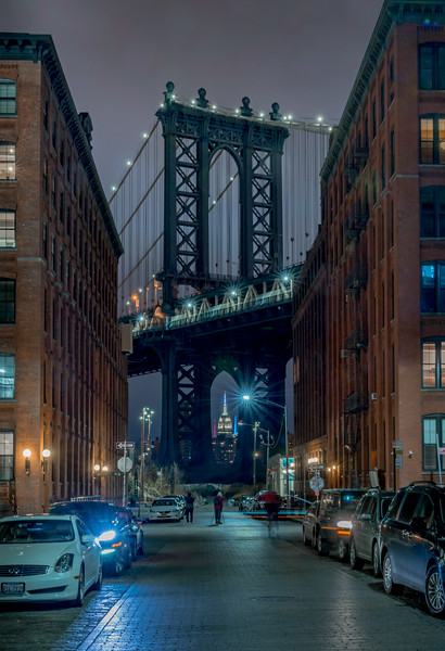 Manhattan Bridge with Empire State Building in Dumbo, Brooklyn, NY 1/28/16