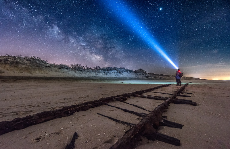 """The Milky Way Rising Over Old """"Ghost Tracks"""" Railroad on Cape May Beach 3/17/18"""