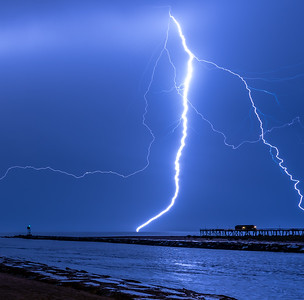 Lightning Strike Over Shark River Inlet and Belmar Pier 10/3/18