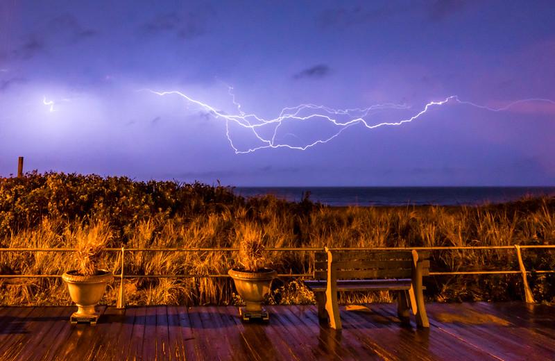 Lightning Over Ocean at Ocean Grove Boardwalk 10/30/16