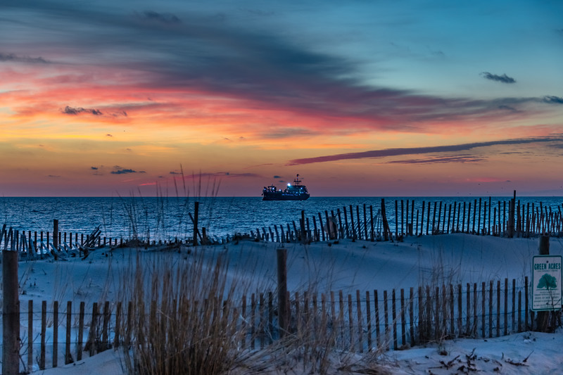 Predawn Colors Over Dredge Ship Off Of Seaside Beach 12/31/18