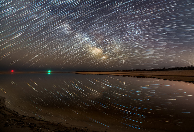 Star Trails Reflecting In A Perfectly Still Tidal Pond 3/21/21