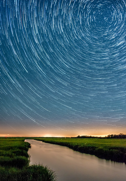 Star Trails Over Marshlands On Southern New Jersey Coast 7/9/18
