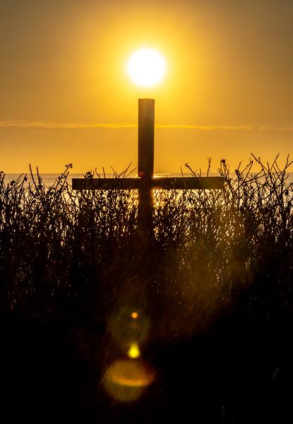 Sunrise Over The Cross On Ocean Grove Beach 4/5/20