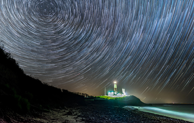 Star Trails Over The Montauk Lighthouse, Montauk, NY 5/7/19