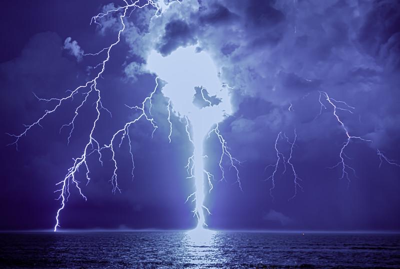 A Brilliant Lightning Strike Over The Ocean 7/31/20